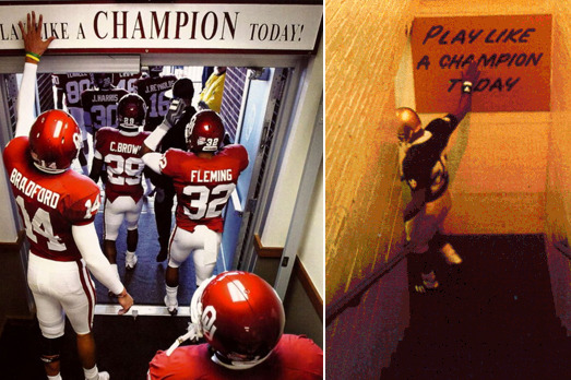 Oklahoma-Notre Dame: Who Had 1st Play Like a Champion Sign?