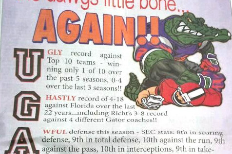 Georgia vs. Florida: Gator Ad in Bulldog Paper Fuels the Fire in Rivalry