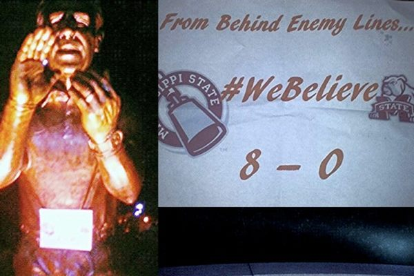 PHOTO: Nick Saban Statue Tagged with Mississippi State '#WeBelieve' Sign