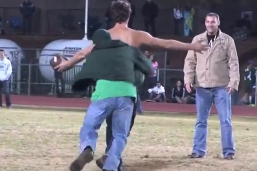 Super Weird HS Football Streaker Gets Jacked Up
