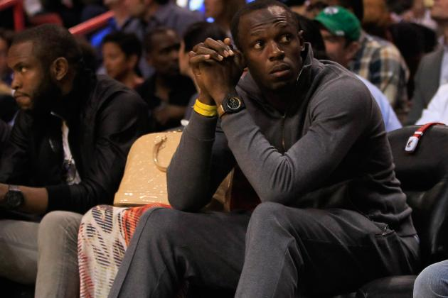 Usain Bolt Cheers on Celtics in Miami