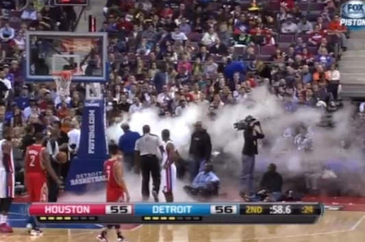 Fog Machine Pistons-Rockets Game (Video)