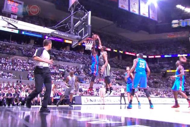 Oklahoma City Thunder vs. San Antonio Spurs: Tim Duncan Posterizes Serge Ibaka