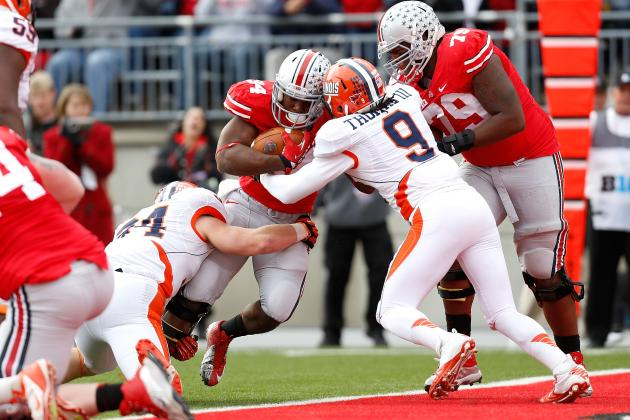 Hyde Scores 3 TDs as Ohio State Rolls Illinois