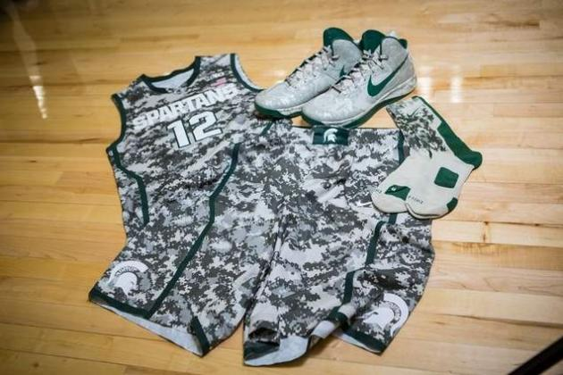 Michigan State Basketball Unveils Camouflage Uniforms for Armed Forces Classic