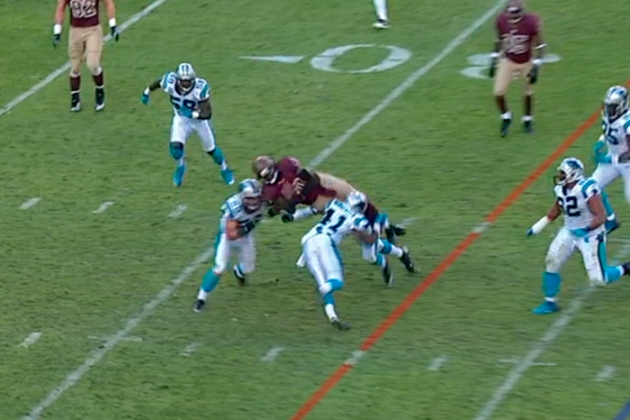 Robert Griffin III Takes Big Hit, Goes Helicopter in the Air