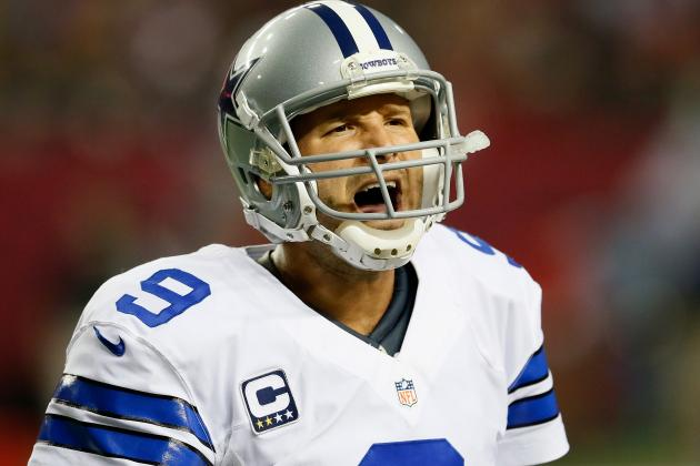 Romo Strains Back on Final Play Against Falcons, Says He'll