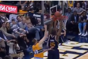Video: Andre Miller Stuffs Derrick Favors at the Rim