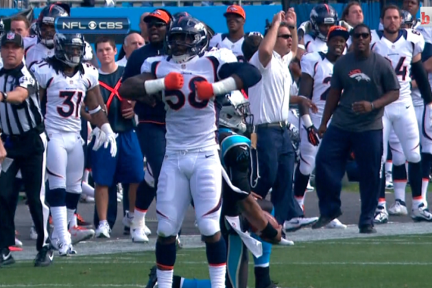 Broncos vs Panthers: Von Miller Does Cam Newton's Superman Celebration