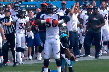 Von Miller Taunts Cam Newton with 'Superman' Pose After Sack