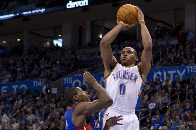 Russell Westbrook Throws Ball off Brandon Knight, Collects and Scores