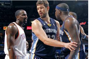 Kendrick Perkins, Zach Randolph Square off Near Interview Room