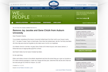 Petition to Obama: Fire Chizik & Jacobs