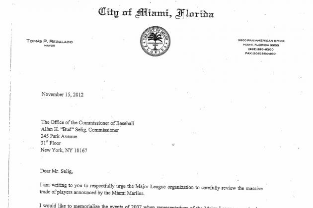 Mayor of Miami Writes Letter to Bud Selig Begging to Stop the Marlins Trade