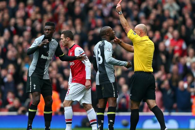 Adebayor Red Card Fatal for Spurs as Arsenal Run Rampant in Derby