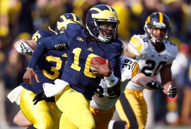 Denard Robinson is closing in on 100 yards (has 98)