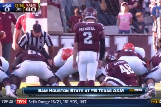 Video: Johnny Manziel Kicks an Extra Point (and Misses)