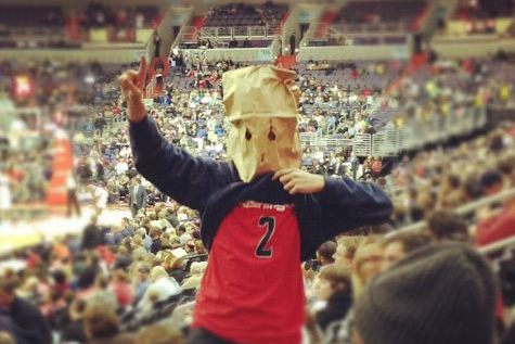 Paper Bag Head at Wizards Game