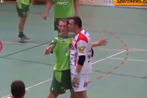 Handball Player Kissed, Subsequently Freaks out and Gets Suspended
