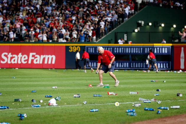 Atlanta Braves Fans Litter Turner Field After Terrible Infield Fly Rule Call