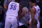 A Grandma Gets a Kiss from Durant After Getting Drilled by Basketball