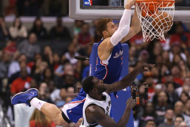 Blake Griffin Meets Deron Williams at the Rim for Huge Block