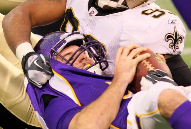 Christian Ponder is sacked for a 9-yard loss on the first play from scrimmage.