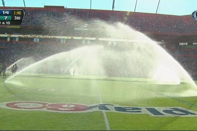 Dolphins turn the sprinklers on at Sun Life Stadium