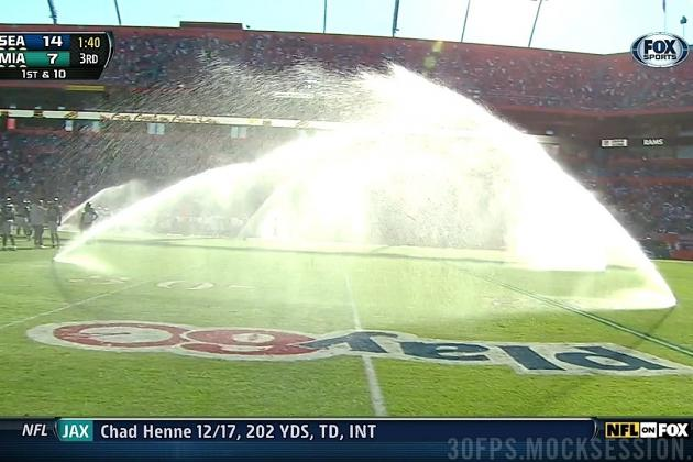 Sprinklers Go Off, Delay Dolphins-Seahawks Game