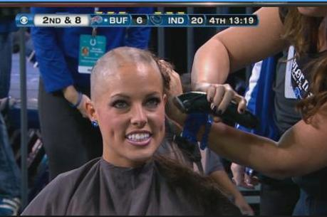 Colts Cheerleaders Shave Heads in Support of Head Coach Chuck Pagano