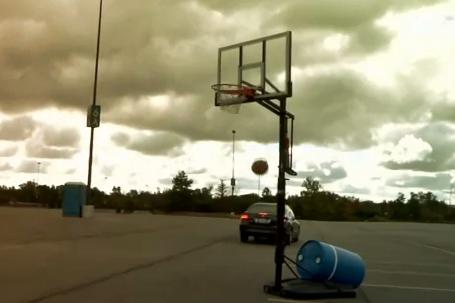 Kyle Singler Makes Shot Bouncing Ball off a Moving Car