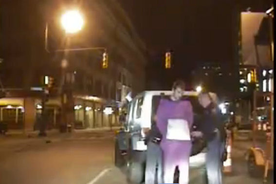 Riley Sheahan Arrest Video, 'Super Drunk' and Dressed as a Purple Teletubby