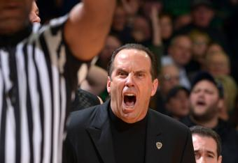 Mike Brey doesn't like that call.