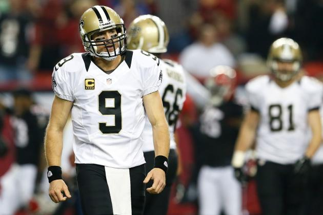 Drew Brees: Saints QB's TD Streak Snapped by 5 Interception Game vs. Falcons