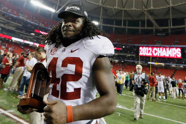 Alabama's Eddie Lacy Has His Moment in the Spotlight as Game MVP
