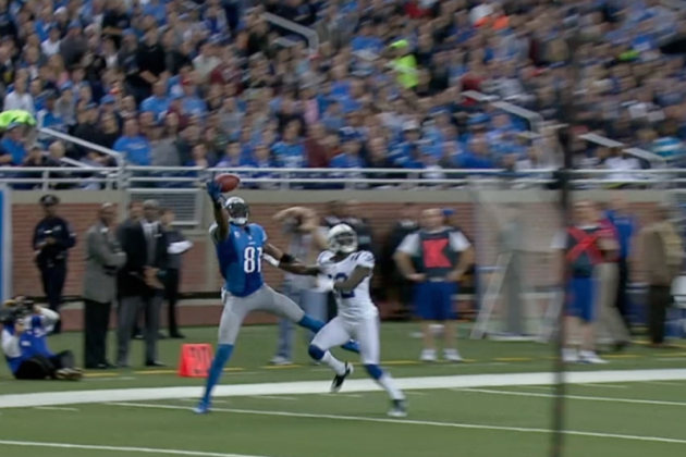 Colts vs. Lions: Calvin Johnson Makes an Incredible One-Handed Catch
