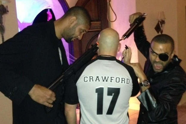 Tim Duncan and Tony Parker Point Guns at Fake Joey Crawford in Leaked Photo