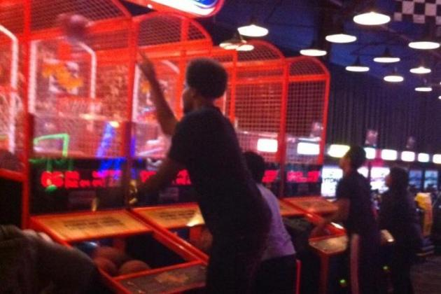 76ers' Hair Fashionista Andrew Bynum Spotted Practicing His Pop-a-Shot Game