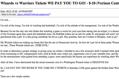 This Fan Will Pay You to Attend a Wizards Game