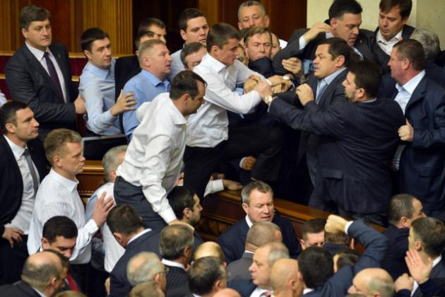 Vitali Klitschko Looks on as Brawl Takes Place in Ukraine Parliament