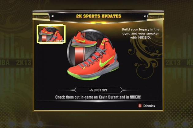 NBA 2K13: Addition of Kevin Durant's KD V Shoes Highlight Small Updates