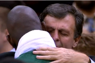 Video: Kevin Garnett and Kevin McHale Embrace at End of Game