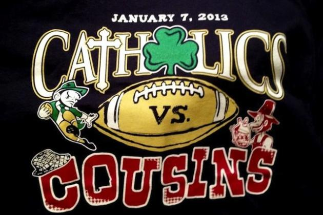 Notre Dame vs. Alabama: Catholics vs. Cousins, Which Makes for a Catchy T-Shirt