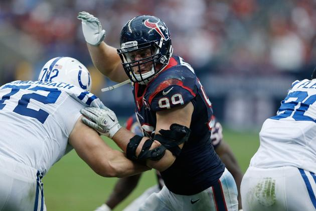 Aldon Smith, J.J. Watt Three Short of Michael Strahan's Sack Record