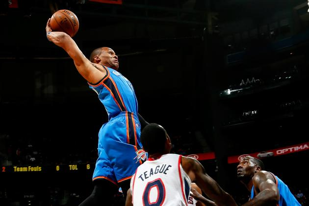 Russell Westbrook Nails a Sick One-Handed Slam vs. Hawks