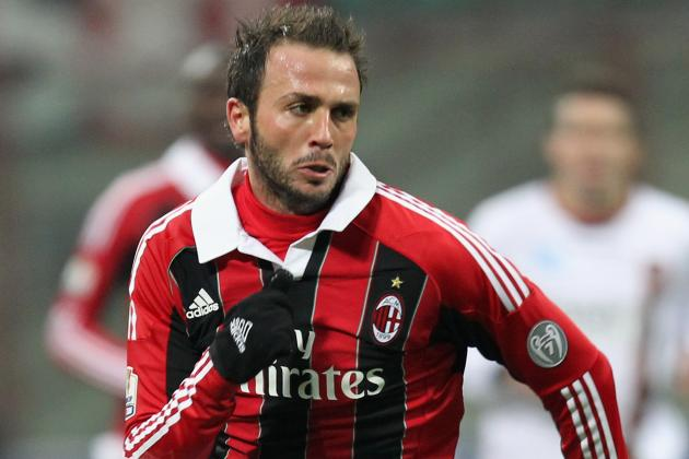 Milan's Pazzini on the Defensive