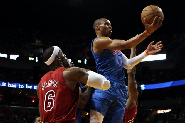 Thunder's Westbrook Takes Exception to Foul from Heat's Battier