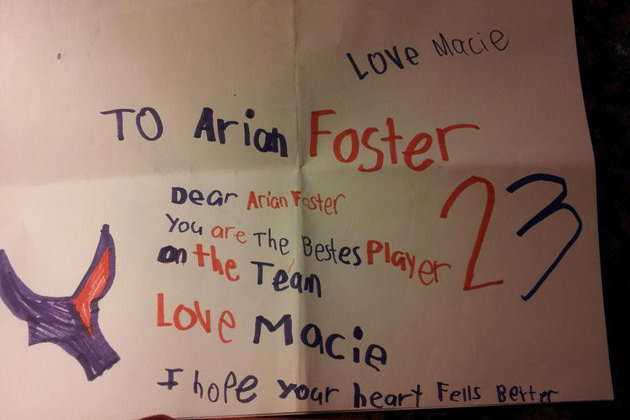 Arian Foster's Health Leads to Get-Well Card from Girl That Will Melt Your Heart