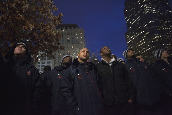 Syracuse Players, Coaches Remember 9/11 During Visit to Memorial