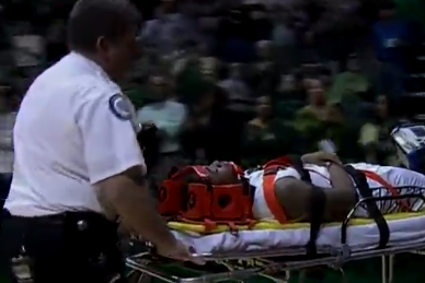 Anthony Collins Immobilized, Taken off Court on Stretcher